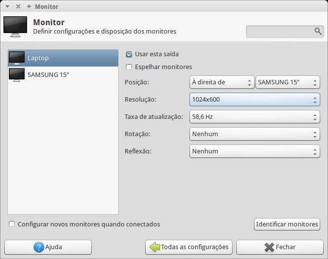 Painel de configuração do monitor no Ubuntu.