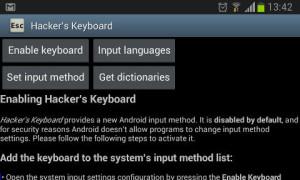 Hackers Keyboard inicial settings screen