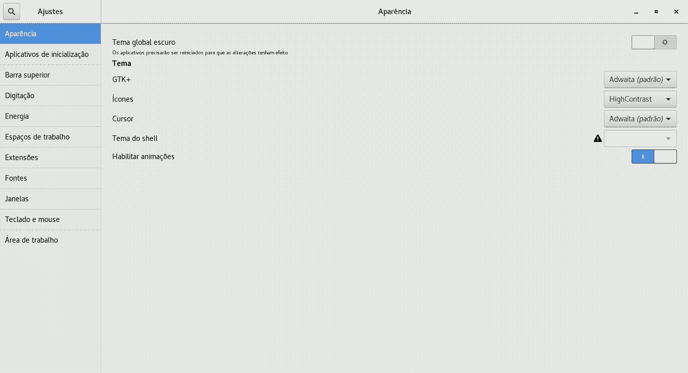 gnome 3 ajuste de animações