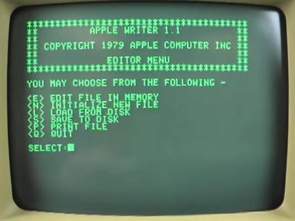 monitor apple II Writer 1.1