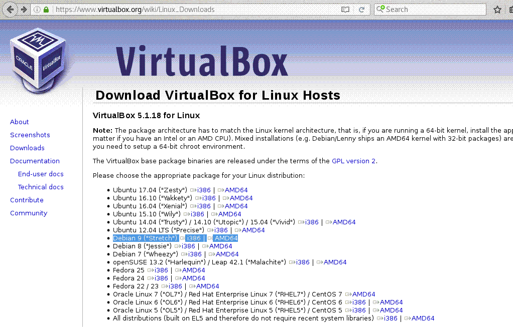 virtualbox site screenshot