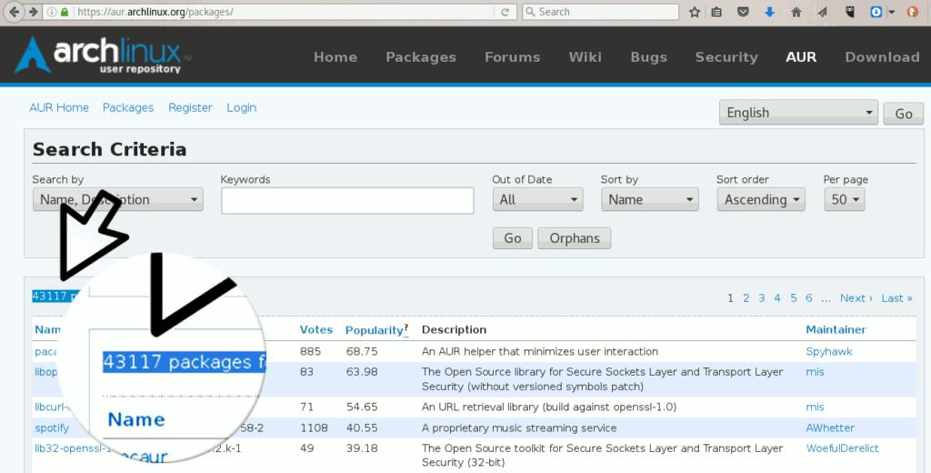 arch linux lista de pacotes do repositório